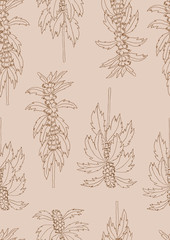 Vector seamless pattern with plant leonurus on a brown background