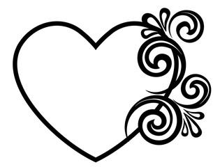 Heart decorated with floral ornament