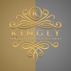 Classic Luxurious Letter K Logo with Embossed Gold Style Logo