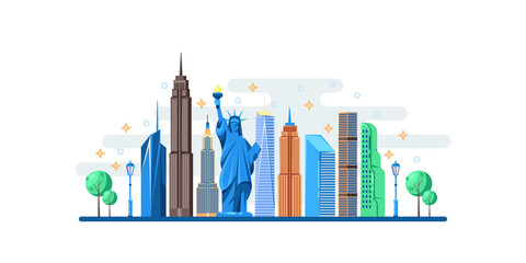 New York cityscape with famous touristic landmarks. Vector flat illustration. Travel to USA horizontal banner design