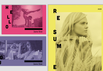 Colorful Resume and Branding Layout Set
