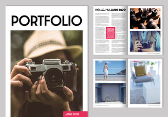 Portfolio Layout with Bright Pink Accents
