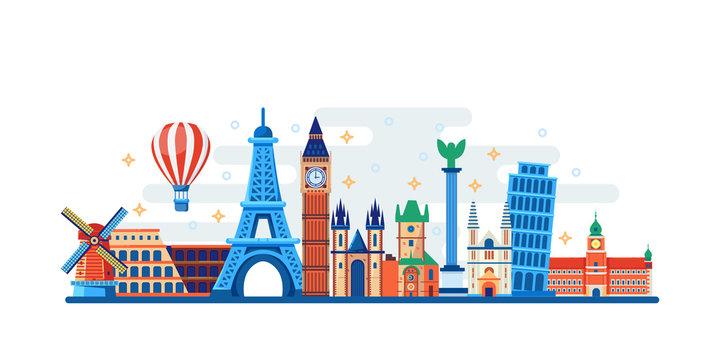 Famous travel and touristic landmarks. Vector flat illustration. World travel concept. Horizontal banner, poster design