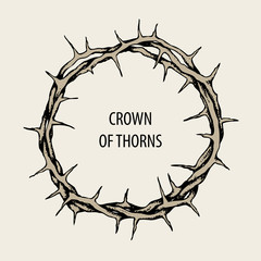 Vector Easter banner with crown of thorns and words