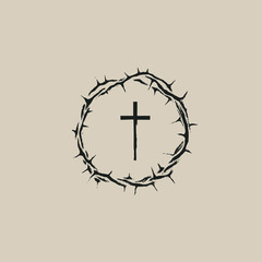 Vector Easter banner with crown of thorns and cross.