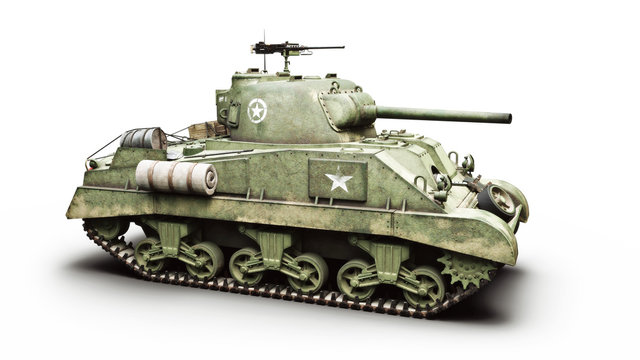 Vintage American World War 2 armored medium combat tank on a white background. WWII 3d rendering