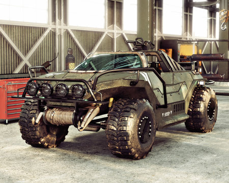 Weaponized off road 4x4 combat vehicle stored inside an industrial hangar. 3d rendering