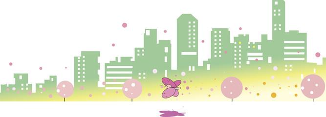 春の街並みと蝶々