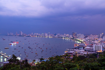 Pattaya City Skyline Dusk