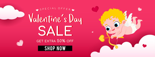 Valentine's Day Sale Banner Vector illustration. Cute Cupid holding bow and arrow above the sky