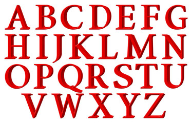 Set of english alphabet letters in uppercase, red, extrusion perspective on right, isolated on white background, 3d illustration