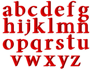 Set of english alphabet letters in lowercase, red, extrusion perspective on right, isolated on white background, 3d illustration