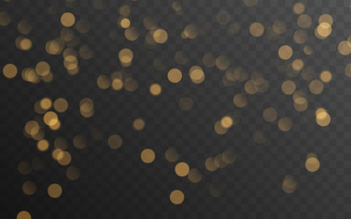 Obraz Abstract golden shining bokeh isolated on transparent background. Decoration or christmas background. - fototapety do salonu