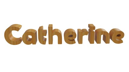Catherine name in 3d decorative rendering with wooden texture