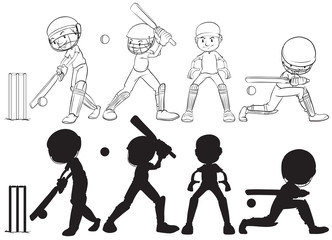 Set of cricket player character