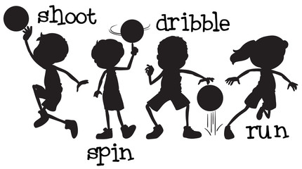 Set of silhouette basketball character