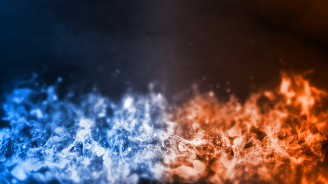 3D Rendering of abstract Fire and Ice element against (vs) each other background. Heat and Cold concept