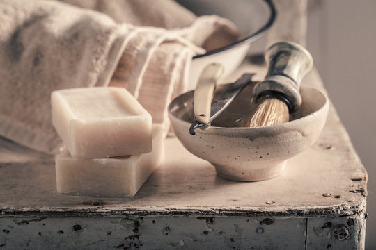 Antique tools for shave with soap, brush and old razor