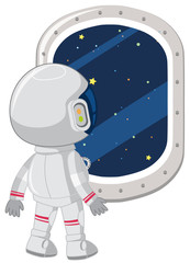 An astronaut look out window