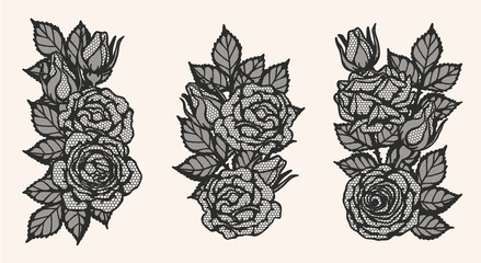 Rose lace ornament vector by hand drawing.Beautiful flower on brown background.Blaze rose vector art highly detailed in line art style.Flower tattoo for paint or pattern.