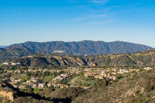 Aerial view of the Mountains and Altadena area