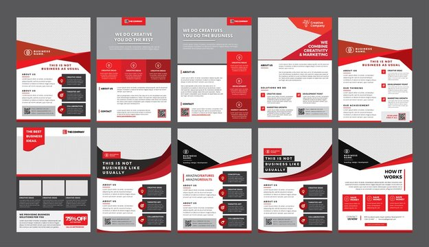 a bundle of 10 templates of a4 flyer template, modern template, in red color, and modern design, perfect for creative professional business