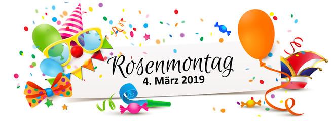 Rosenmontag 2019 - Zettel Banner mit Fasching Accessoires