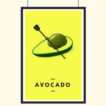Cute Avocado cartoon character doing boating. Eating healthy and exercise. Flat retro style concept illustration.