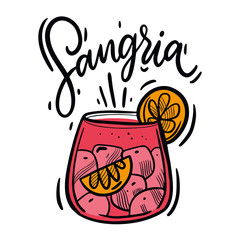 Hand drawn Sangria summer cocktail vector illustration. Traditional spanish drink.