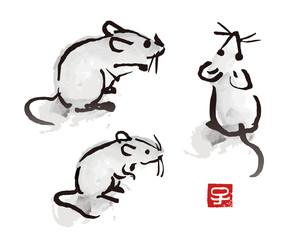 年賀状素材 水墨画風ねずみのイラスト 子年 干支動物 干支文字