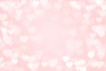 pastel pink color of Heart bokeh background
