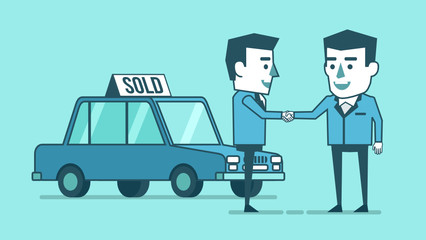 Two businessman stand in front of the car and make handshake. Car dealer. Buy, rent car concept. Simple style vector illustration