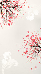 Wall Mural - Chinese plum blossom and clouds. 3d rendering picture.