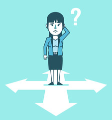 Confused businesswoman stands at crossroads and thinks where to go. Choose business direction, planning. Simple style vector illustration