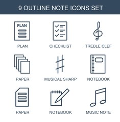 9 note icons