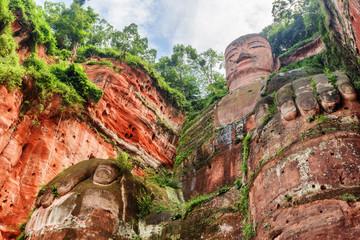 Bottom view of the Leshan Giant Buddha, China