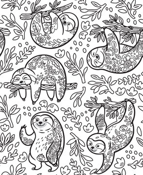 Cute sloths with floral ornament in outline. Vector seamless pattern