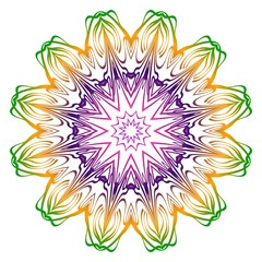 Anti-stress therapy pattern. Mandala. For design backgrounds. Vector illustration. Rainbow color