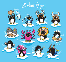 Set of penguins zodiac signs in cartoon style. Vector illustration