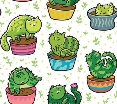 Vector seamless pattern with succulents and cactuses in the form of cats in pots. Vector illustration