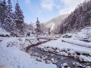 walk way to snow monkey park on winter in Japan