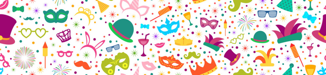 Celebration festive background with seamless pattern carnival icons. Party element for carnival, carnaval, mardi gras, fat tuesday, birthday, and photo booth.