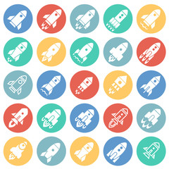 Rocket icons set on color circles white background for graphic and web design, Modern simple vector sign. Internet concept. Trendy symbol for website design web button or mobile app