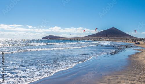 Wall mural Landscape with El Medano beach, in background La Montana Roja, Tenerife island, Spain