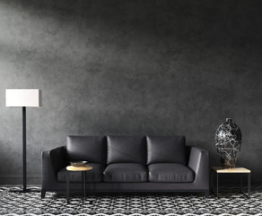 Home interior mock-up with sofa and decor, black stylish loft living room, 3d render