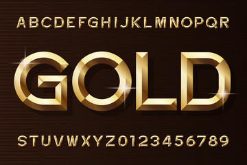 Gold alphabet font. 3d beveled gold effect letters and numbers. Stock vector typescript for your design. Wall mural