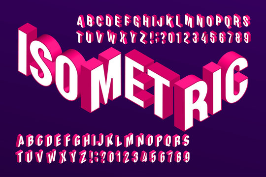 3D isometric alphabet font. 3d effect letters and numbers. Stock vector typeface for your typography design.