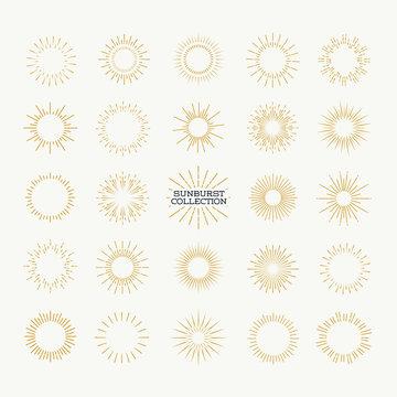 Sunburst vector set gold style isolated on background for logotype, emblem, logo, tag, stamp, t shirt, banner. Firework explosion, star. 10 eps