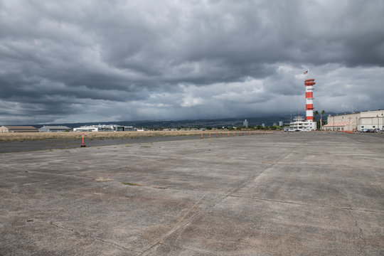 Military base airport runway with control tower