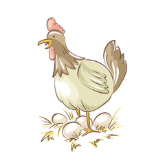 Chicken family. Vector illustration, Funny chicken with eggs